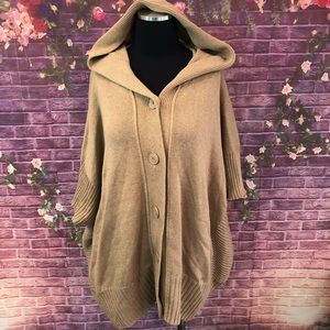 Caslon Camel Hooded Sweater Poncho Sweater M/L